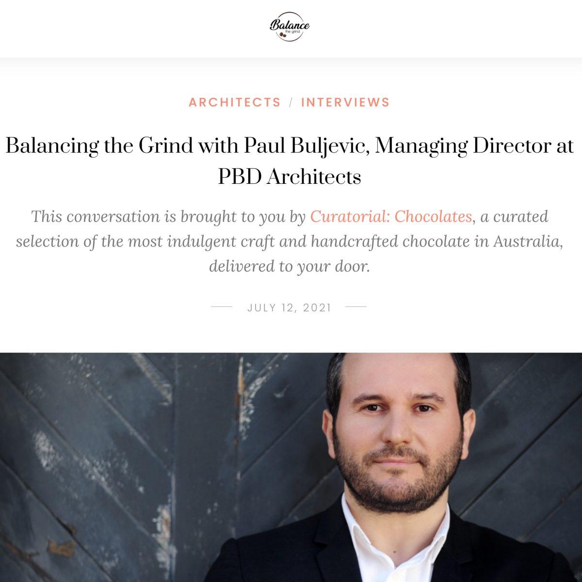 Balancing the Grind with Paul Buljevic, Managing Director at PBD Architects