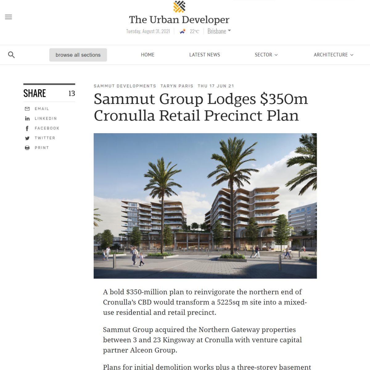 Sammut Group Lodges $350m Cronulla Retail Precinct Plan