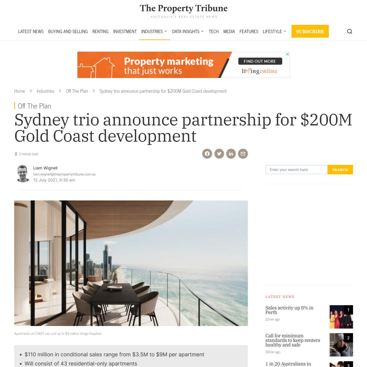 Sydney trio announce partnerships for $200M Gold Coast development